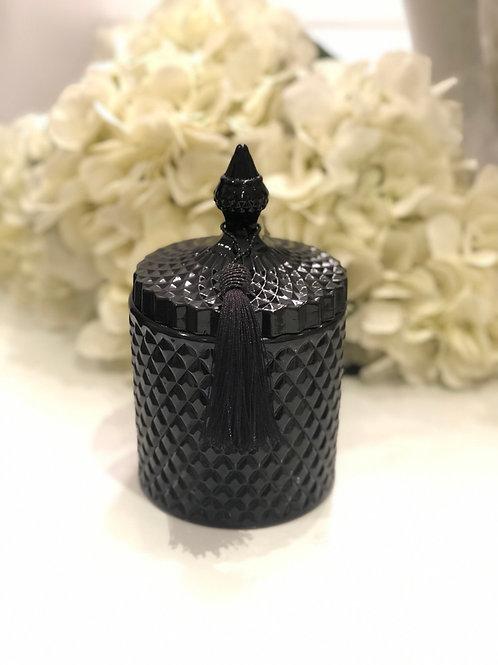 Large Black Gloss Geo Candle