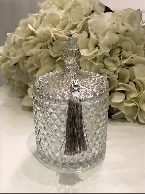 Pearlescent Clear Large 3 Wick Geo Candle