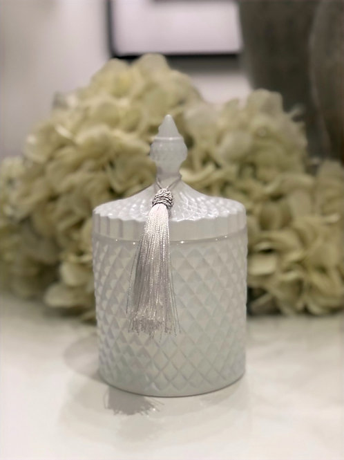 Large 3 Wick White Gloss Geo Candle