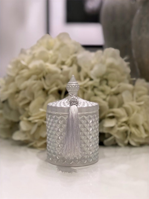 Pearl White Geo Candle