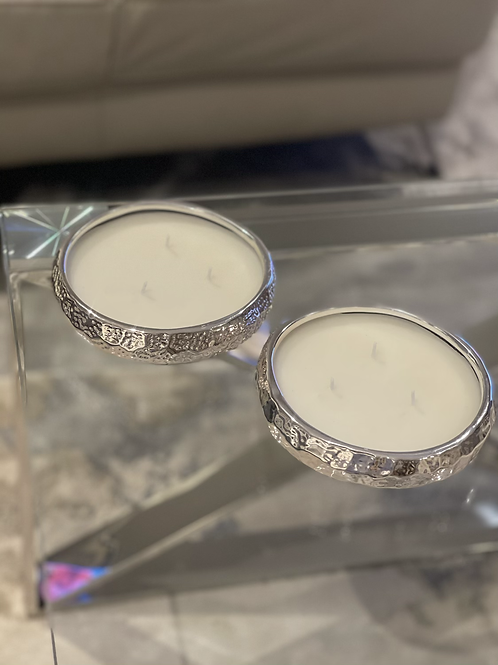 3 wick silver display candle