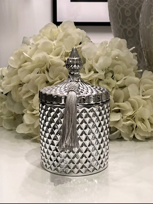 Silver Large 3 Wick Geo Candle