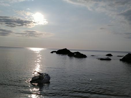 最後は海で。