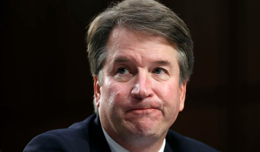 Photo by: Alex Brandon President Donald Trump's Supreme Court nominee, Brett Kavanaugh reacts as testifies after questioning by Sen. Cory Booker, D-N.J., before the Senate Judiciary Committee on Capitol Hill in Washington, Thursday, Sept. 6, 2018, for the third day of his confirmation hearing to replace retired Justice Anthony Kennedy.
