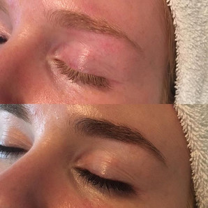 Lash + Brow Tint before and after and a