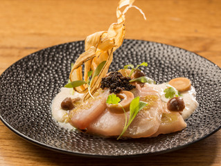 Hamachi Crudo With Creamy Tofu, Smoked Hon Shimeji Mushrooms, Pickled Hearts of Palm, Crisp Burdock