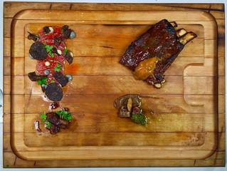 Lamb Quartet, Lamb Barbeque Ribs With Apricot Chutney, Lamb Saddle Carpaccio with Roasted Lemon Sauc