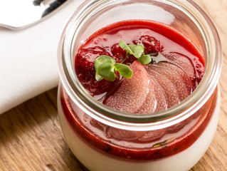 Coconut Panna Cotta With Roasted Strawberry & Rhubarb Compote