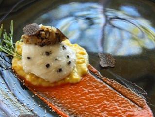 Black Truffle Barded Halibut With Creamed Truffle Corn & Roasted Piquillo Sauce