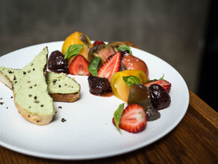 Heirloom Tomato Salad, Local Strawberries, Balsamic Roasted Strawberries, White Balsamic Chia Seeds,