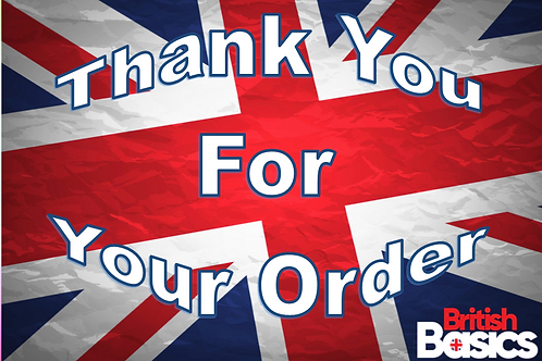 British Basics Thank you for your order postcard