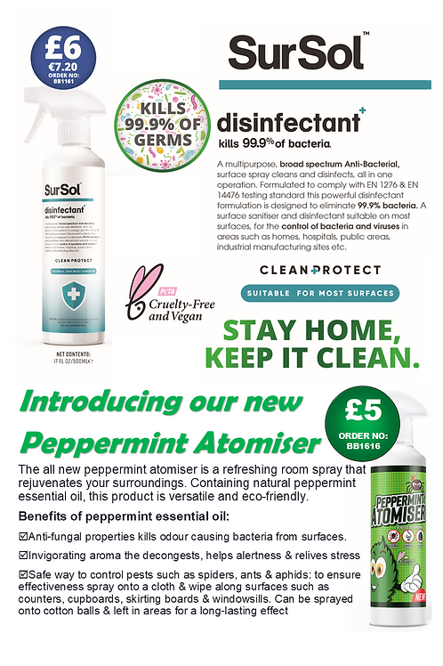 British Basics Disinfectant and Peppermint Flyer