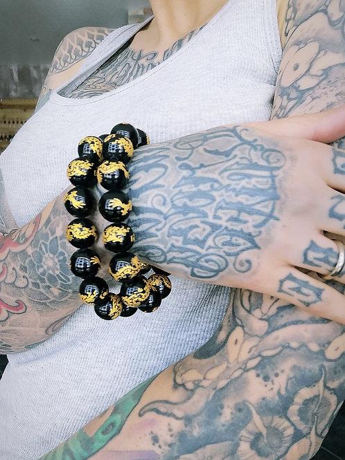 Bracelet // agate noire & dragons dorés