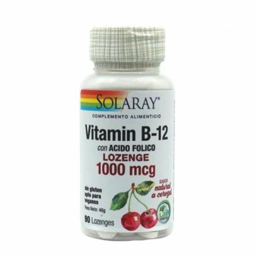 B12 - 1000 mcg + Acido Fólico  Solaray 90 tabletas