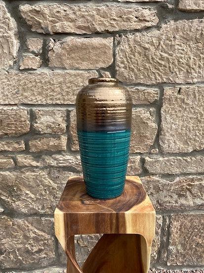 Ribbed Gold & Teal Vase