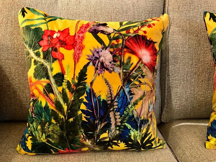 Floral printed velvet cushion