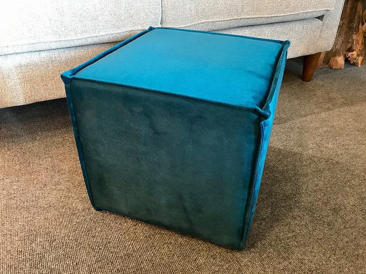 Blue petrol velvet cube stool