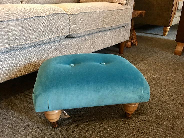 Pacific blue velvet footstool