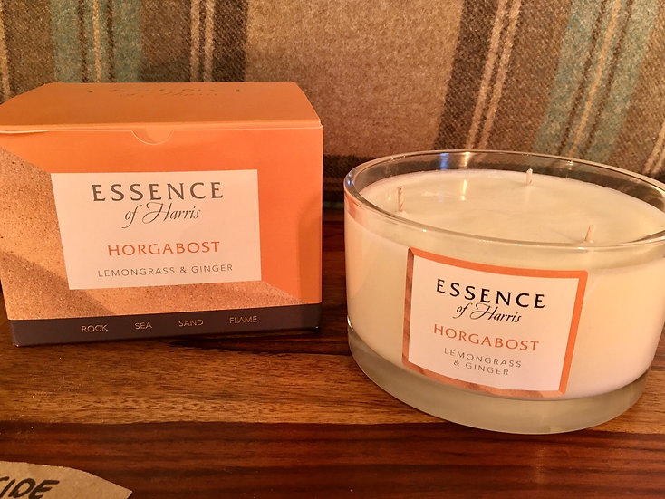Essence of Harris large 3 wick Horgabost glass candle