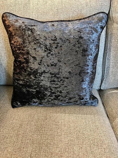 Crush grey velvet cushion