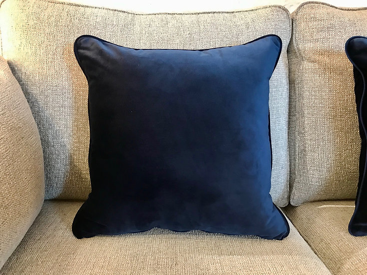 Midnight blue velvet cushion