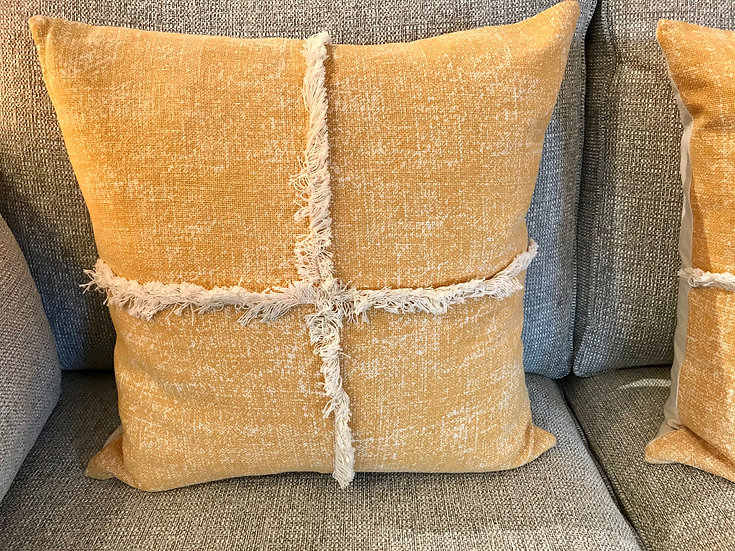 Yellow boheme fringed cushion