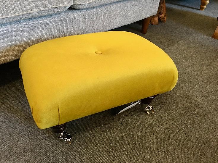 Mustard velvet footstool