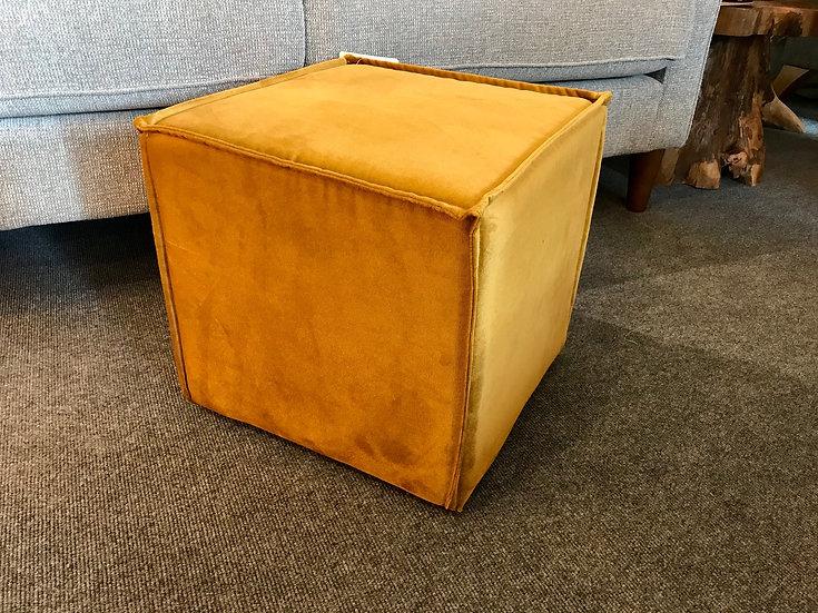 Mustard velvet cube stool