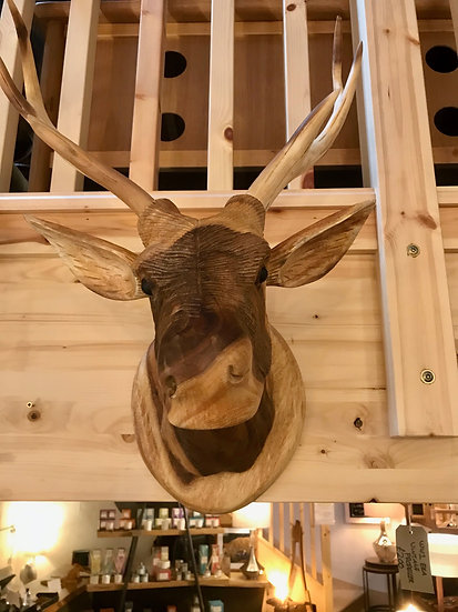 Wooden stag head large