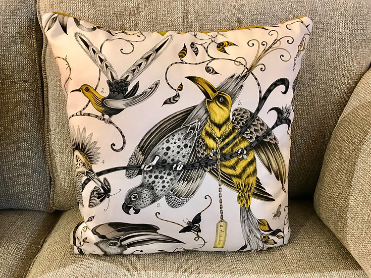 Aviary printed cushion