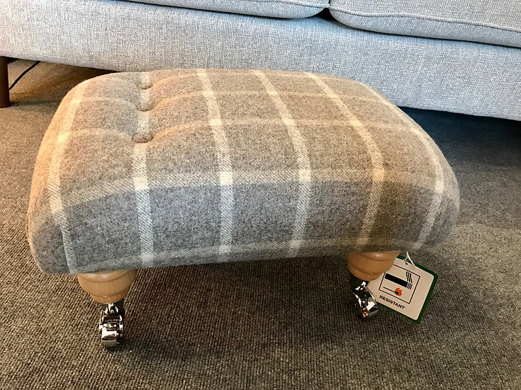 Moon fabric grey check footstool
