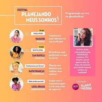 Festival Planejando Meus Sonhos traz   Luiza Brasil, Nath Finanças, Nat Araújo e Xan Ravelli