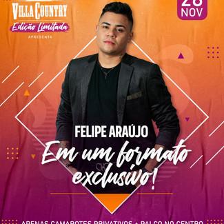 """Felipe Araújo anuncia data para o seu primeiro show dentro do """"novo normal"""" no Villa Country"""