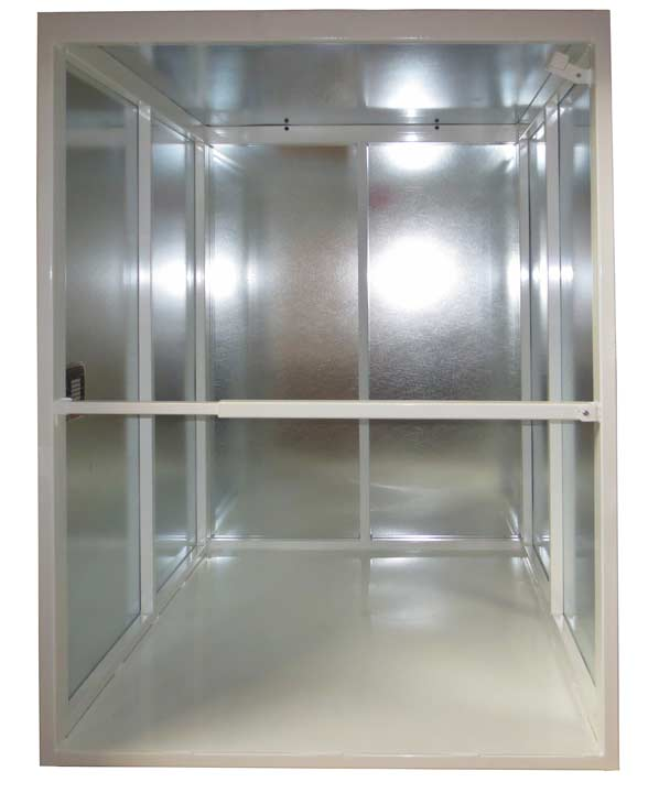 Dumbwaiter car with drop down bar
