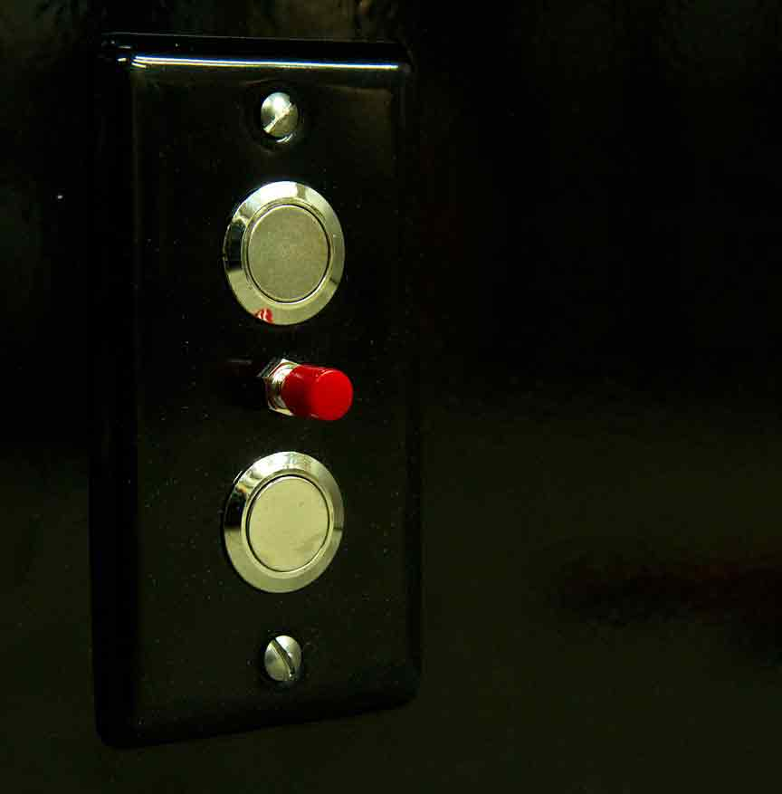 Mezzanine lift push buttons