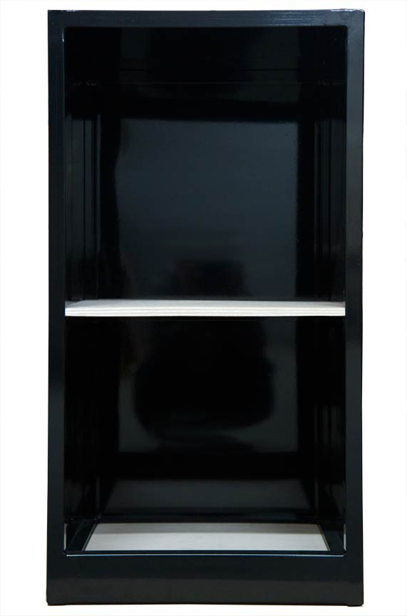 Black dumbwaiter car with shelf