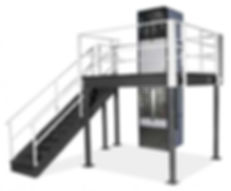 Mezzanine lift installed