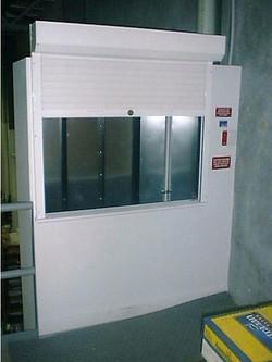 External slide up hoist-way door