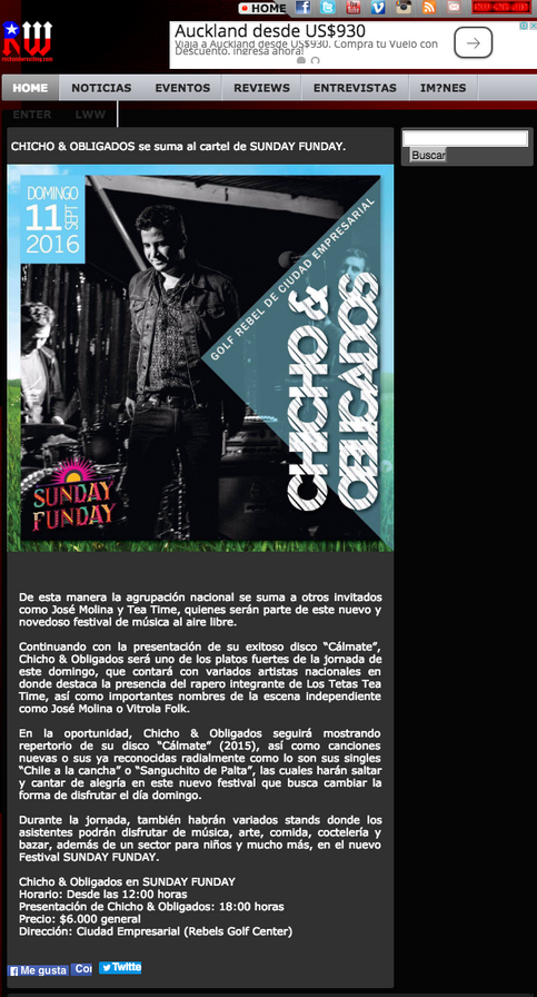CHICHO & OBLIGADOS se suma al cartel de SUNDAY FUNDAY.