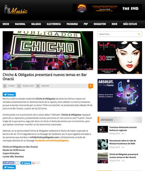 Chicho & Obligados presentará nuevos temas en Bar Onaciú