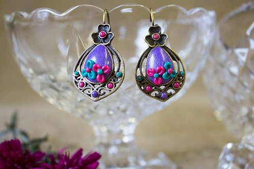 Bright purple and turquoise floral earrings
