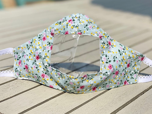 Ditsy floral - Small Youth - Face covering with window - Ready to Ship