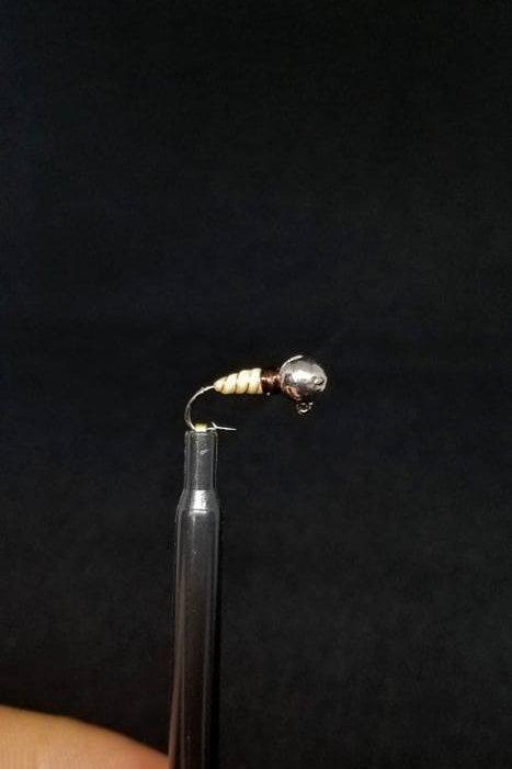 Tungsten Wax Worm Ice Jig - Aaron's Custom Tying