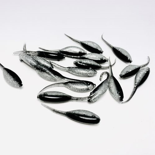 """Silver Slayer Crappie Bullet - 2"""" - 12 pack Black and Silver Pearl w/Fleck"""