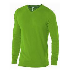 Reklamní svetr s výstřihem do V zelený