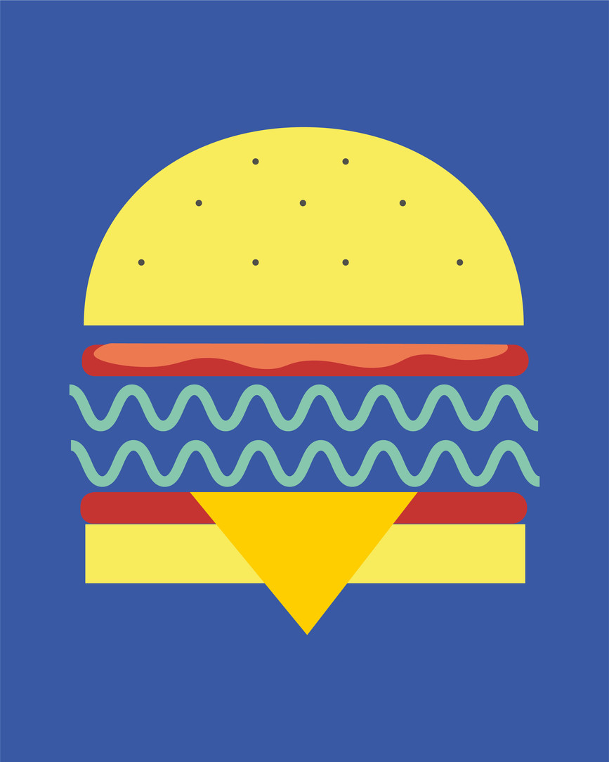 Vegan Burger Digital Illustration Alessio Sanzeri
