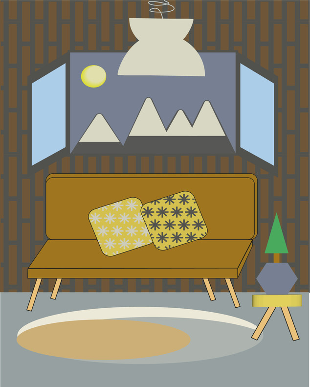 View from the Window- Moutain Chalet Digital Illustration Alessio Sanzeri