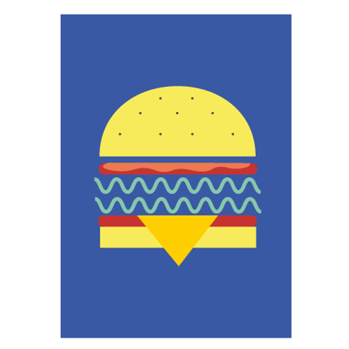 Veggie Burger Blue / Pop  - Digital Print