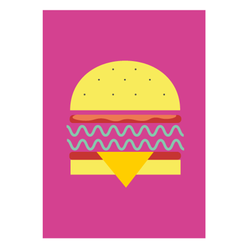 Veggie Burger Pink / Pop - Digital Print