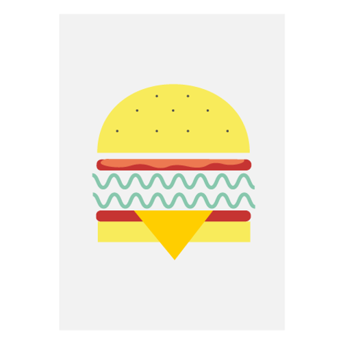 Veggie Burger White/ Pop - Digital Print
